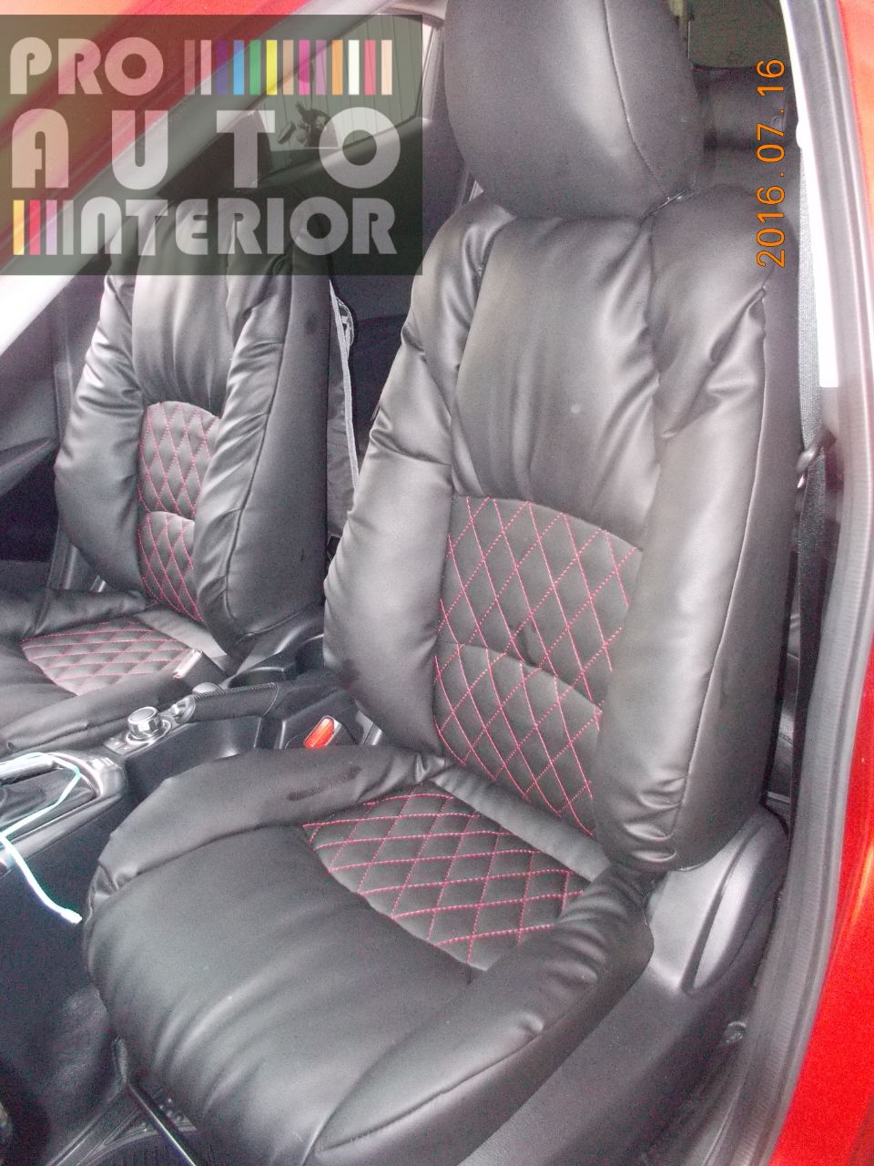 Mazda 2 Skyactive model Sofa (Lederlux Black with Red Diamond Stitching)