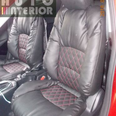 Mazda 2 Skyactive model Sofa (Lederlux Black with Red Diamond Stitching)
