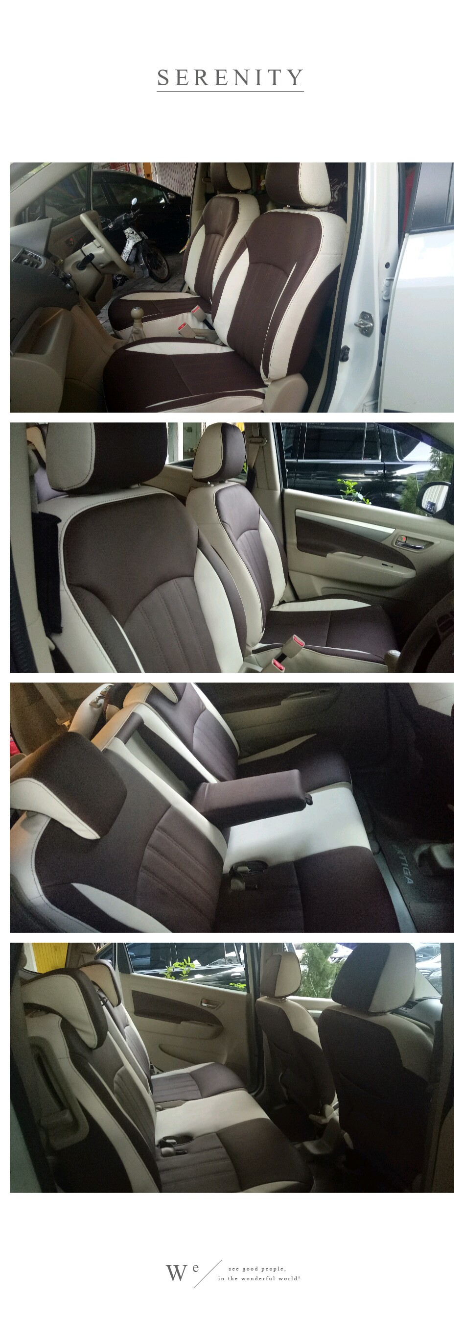 Ertiga elegant style (Brown & white synthetic leather)