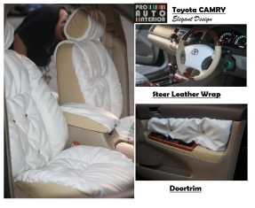 Jok Toyota Camry Elegant Model Garson Sofa (Beige & White Leather combination)