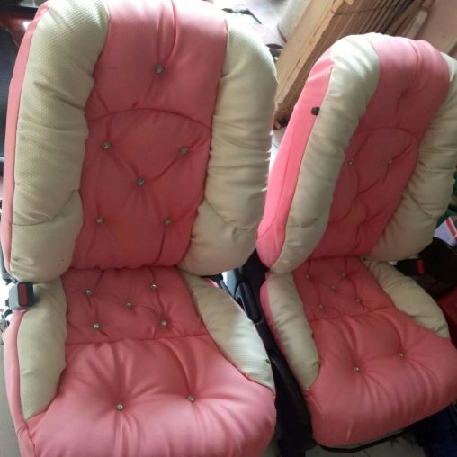 Jok model sofa pink & white honda jazz