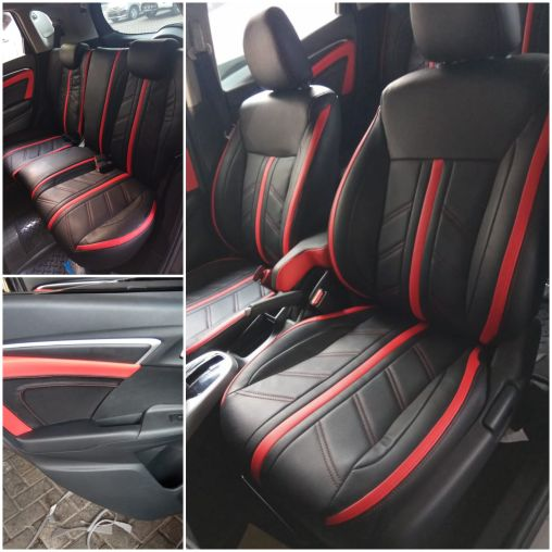 Jok Model Sporty Honda Jazz Black with red line